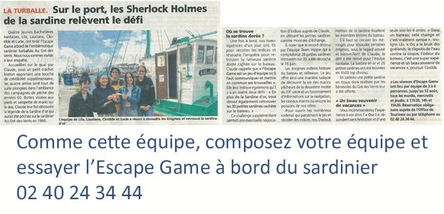 Les Sherlock Holmes de la sardine relève le défi